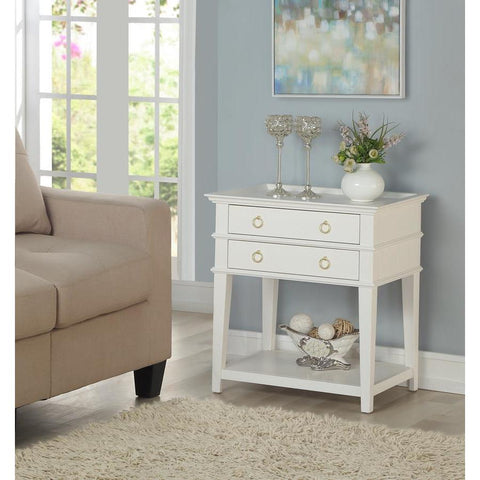 Comfort Pointe Clara White 2 Drawer Tray Top Nightstand
