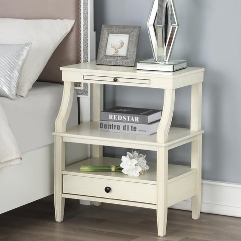 Comfort Pointe Newton Antique White Storage Nightstand