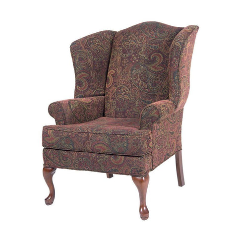 Comfort Pointe Paisley Cranberry Wing Back Chair in Cherry