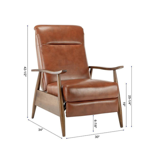 Comfort Pointe Solaris Wood Arm Push Back Recliner - Caramel