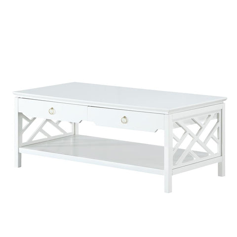 Comfort Pointe Thomas White Chippendale-style Coffee Table