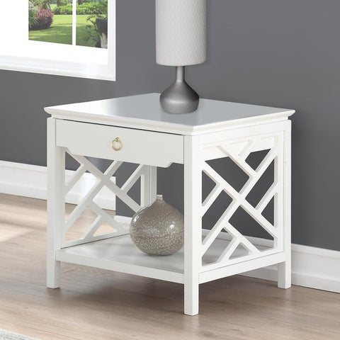 Comfort Pointe Thomas White Chippendale-style End Table