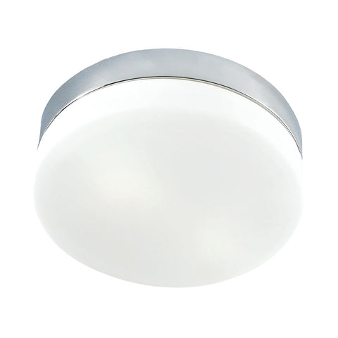 Cornerstone 1 Light Flush Mount In Chrome And White Glass