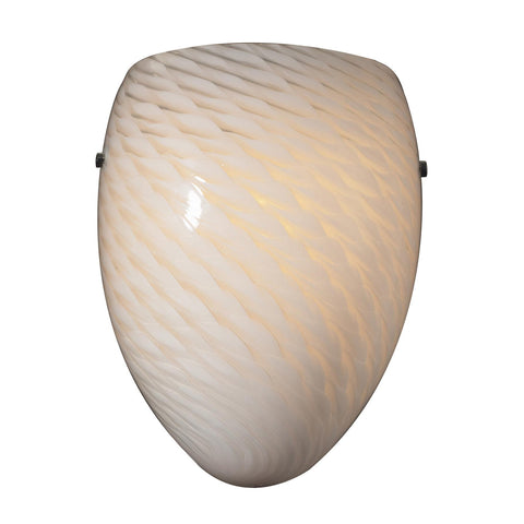 Cornerstone 1 Light Sconce In Satin Nickel And White Swirl Glass