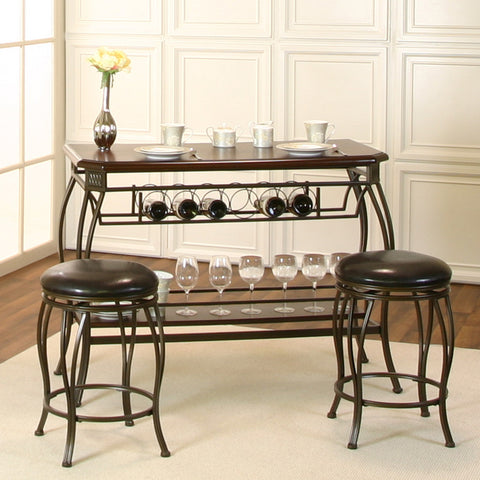 Sunset Trading Warner 3 Piece Pub Table Set in Bronze & Chocolate