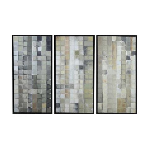Diamond Home Gray Tiles Wall Decor in Gloss Black