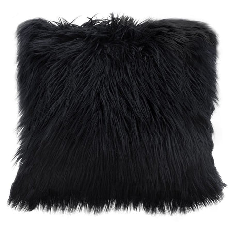 Diamond Sofa 18 Inch Square Accent Pillow in Black Dual-Sided Faux Fur