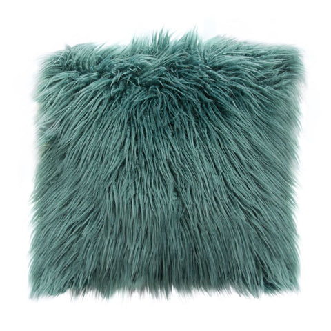 Diamond Sofa 18 Inch Square Accent Pillow in Teal Dual-Sided Faux Fur