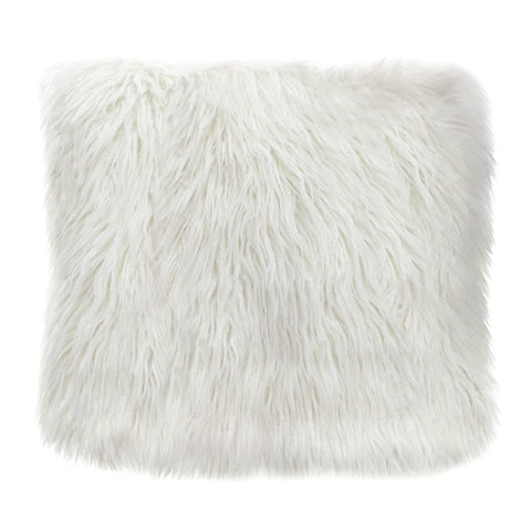 Diamond Sofa 18 Inch Square Accent Pillow in White Dual-Sided Faux Fur