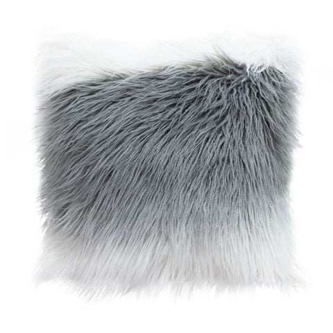 Diamond Sofa 18 Inch Square Accent Pillow in White/Grey Ombre Dual-Sided Faux Fur