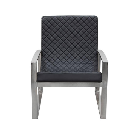 Diamond Sofa Aristocrat Accent Chair w/Diamond Tufted Quilt & Stainless Steel Frame - Black