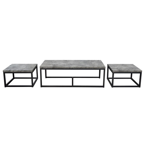 Diamond Sofa Atlus 3 Piece Nesting Cocktail Set w/Faux Concrete Tops & Black Metal Base