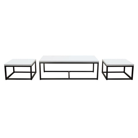 Diamond Sofa Atlus 3 Piece Nesting Cocktail Set w/White Lacquer Tops & Black Metal Base