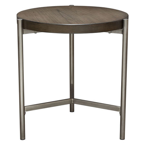 Diamond Sofa Atwood 22 Inch Round End Table w/Grey Oak Veneer Top & Brushed Silver Metal Base