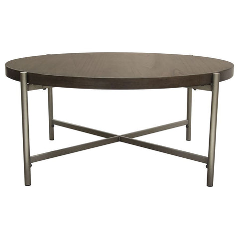 Diamond Sofa Atwood 40 Inch Round Cocktail Table w/Grey Oak Veneer Top & Brushed Silver Metal Base