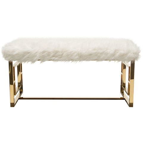 Diamond Sofa Audrey Rectangular Bench w/Padded Seat in White Faux Fir