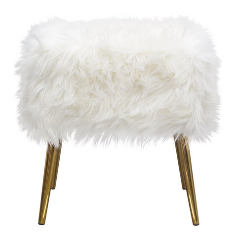 Diamond Sofa Audrey Square Ottoman in White Faux Fir w/ Brushed Gold Leg