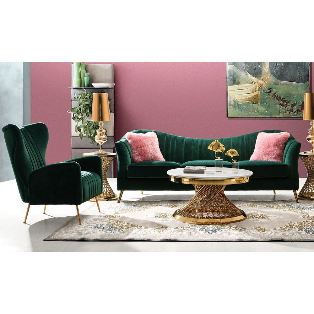 Astounding Diamond Sofa Ava 2 Piece Living Room Set In Emerald Green Velvet W Gold Leg Gmtry Best Dining Table And Chair Ideas Images Gmtryco