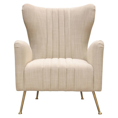 Diamond Sofa Ava Chair in Sand Linen Fabric w/ Gold Leg
