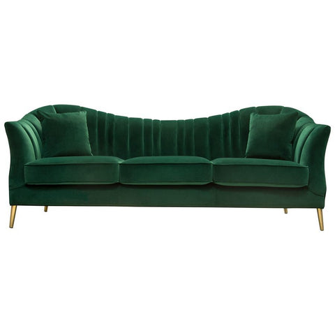 Diamond Sofa Ava Sofa in Emerald Green Velvet w/Gold Leg