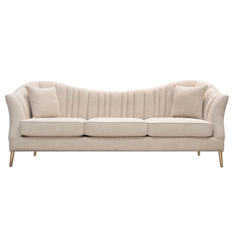 Diamond Sofa Ava Sofa in Sand Linen Fabric w/ Gold Leg