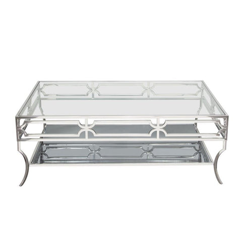 Diamond Sofa Avalon Cocktail Table w/Clear Glass Top & Mirrored Shelf & Stainless Steel Frame