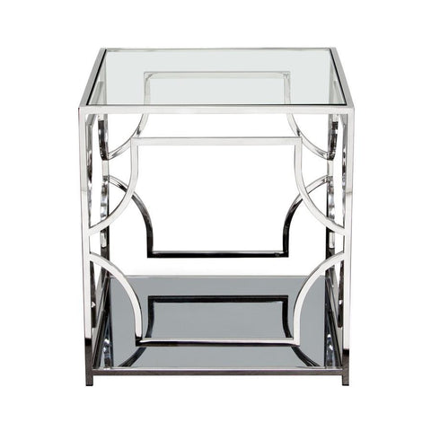 Diamond Sofa Avalon End Table w/Clear Glass Top & Mirrored Shelf & Stainless Steel Frame