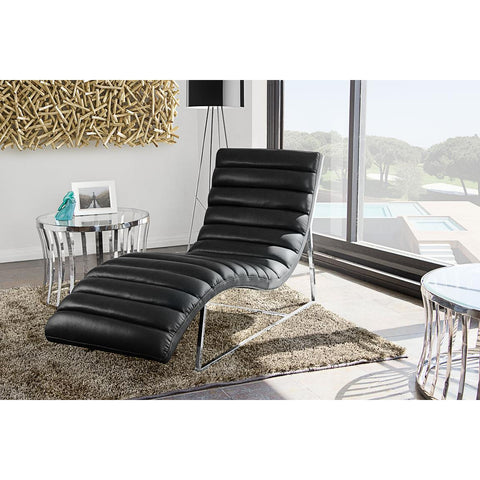 Diamond Sofa Bardot Chaise Lounge With Stainless Steel Frame In Black