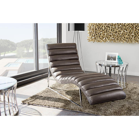 Diamond Sofa Bardot Chaise Lounge With Stainless Steel Frame In Elephant Grey