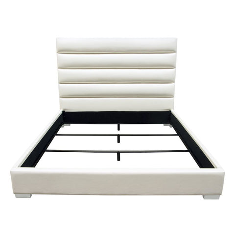 Diamond Sofa Bardot Channel Tufted Eastern King Bed in White Leatherette