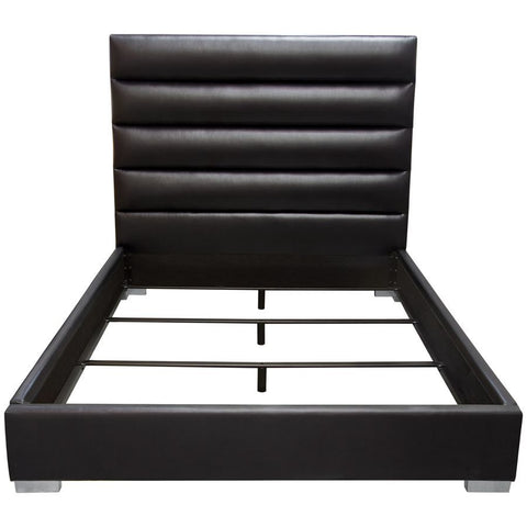 Diamond Sofa Bardot Channel Tufted Upholstered Platform Bed in Black Leatherette