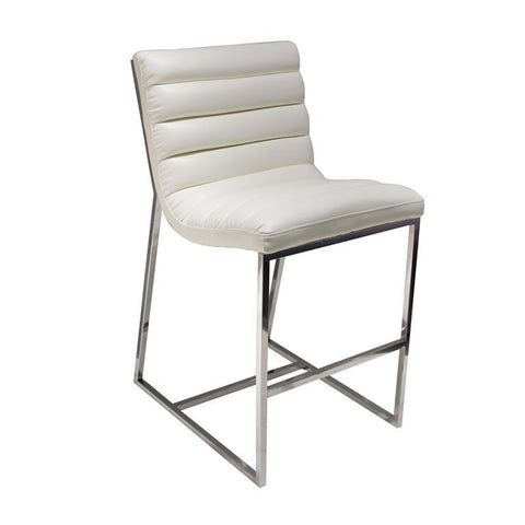 Diamond Sofa Bardot Counter Height Chair With Stainless Steel Frame In White