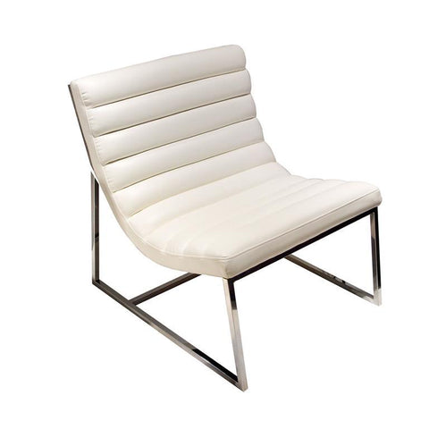 Diamond Sofa Bardot Lounge Chair With Stainless Steel Frame In White