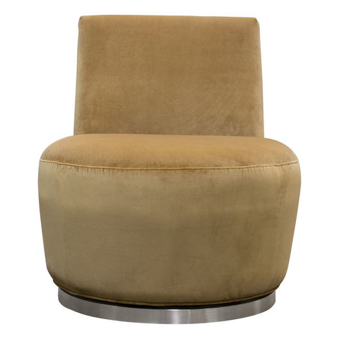 Diamond Sofa Blake Swivel Accent Chair in Marigold Velvet Fabric w/Polished Stainless Steel