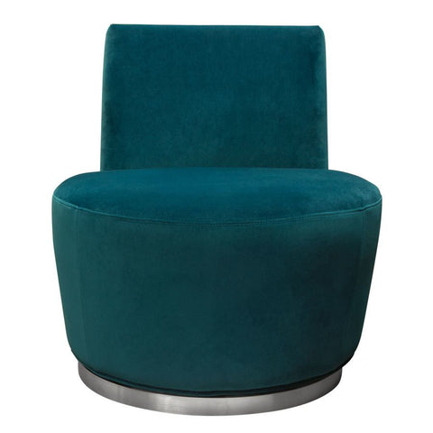 Diamond Sofa Blake Swivel Accent Chair in Teal Velvet Fabric w/Polished Stainless Steel