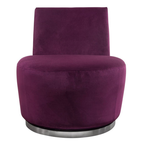 Diamond Sofa Blake Swivel Accent Chair in Ultra Violet Velvet Fabric w/Polished Stainless Steel