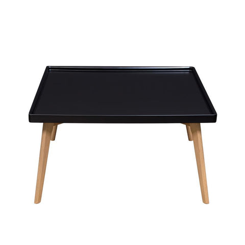 Diamond Sofa Cafe Square Cocktail Table w/Black Top & Oak Legs