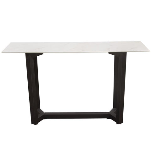 Diamond Sofa Caplan Rectangular Console Table w/Ceramic Marble Glass Top & Black Powder Coat Base