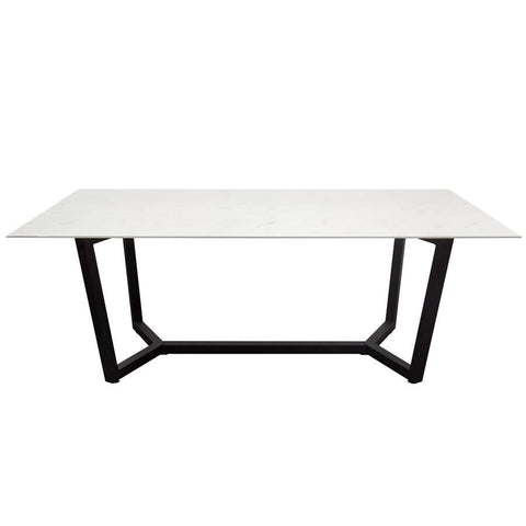 Diamond Sofa Caplan Rectangular Dining Table w/Ceramic Marble Glass Top & Black Powder Coat Base