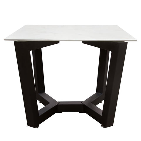 Diamond Sofa Caplan Square End Table w/Ceramic Marble Glass Top & Black Powder Coat Base
