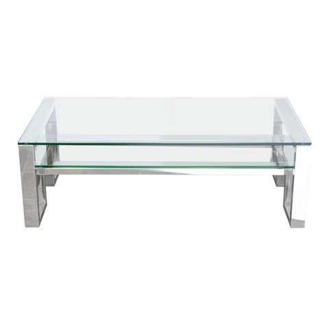 Diamond Sofa Carlsbad Cocktail Table w/Clear Glass Top & Shelf w/Stainless Steel Frame