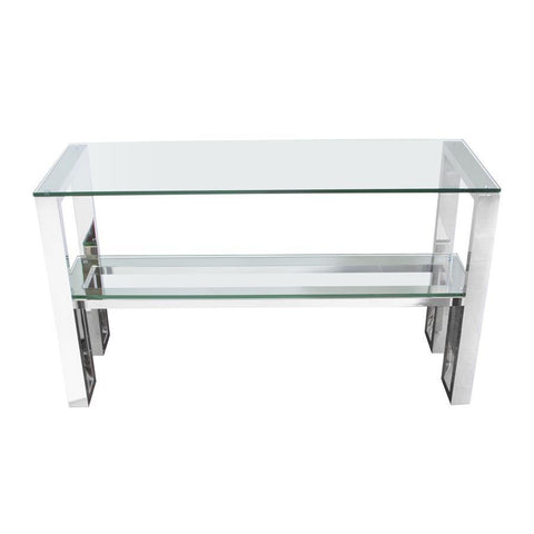 Diamond Sofa Carlsbad Console Table w/Clear Glass Top & Shelf w/Stainless Steel Frame