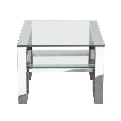 Diamond Sofa Carlsbad End Table w/Clear Glass Top & Shelf w/Stainless Steel Frame