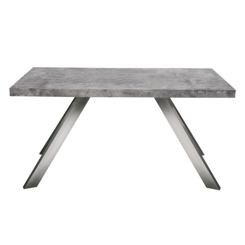 Diamond Sofa Carrera Dining Table/Desk in Faux Concrete Finish w/Brushed Stainless Steel Legs