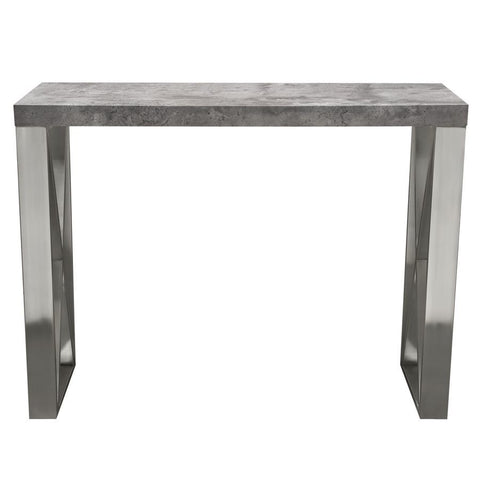 Diamond Sofa Carrera Pub Table in 3D Faux Concrete Finish w/Brushed Stainless Steel Legs
