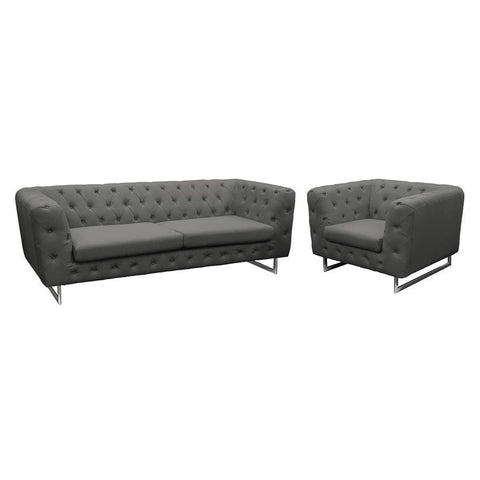 Diamond Sofa Catalina 2 Piece Tufted Sofa & Chair Set w/Metal Leg in Grey