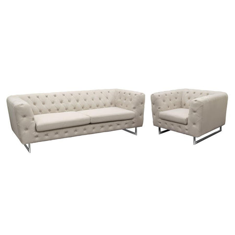 Diamond Sofa Catalina 2 Piece Tufted Sofa & Chair Set w/Metal Leg in Sand