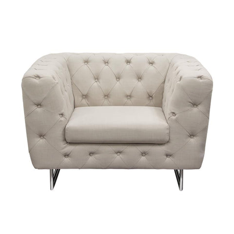 Diamond Sofa Catalina Tufted Chair w/Metal Leg in Sand