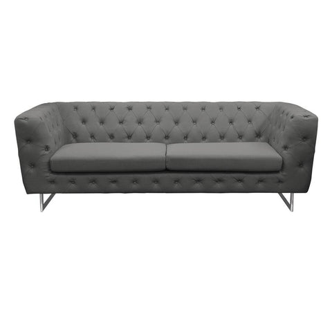 Diamond Sofa Catalina Tufted Sofa w/Metal Leg in Grey