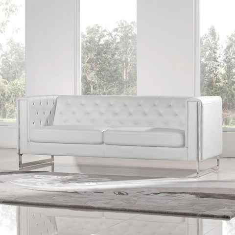 Diamond Sofa Chelsea Leatherette Sofa With Metal Leg In White